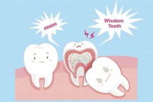 cute cartoon wisdom teeth with health concept